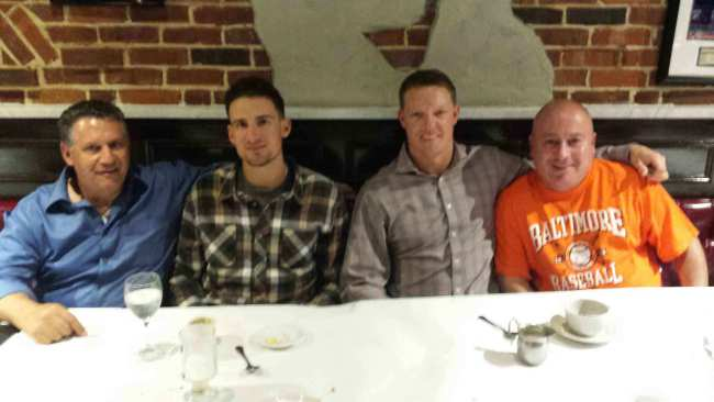 """Out On The Town"" (9/24/14) Bayside Yankees President Marc Cuseta (far left) with (from L to R), 2014 American League Eastern Division Champions from the Baltimore Orioles, Ryan Flaherty, Nick Hundley, and former Bayside Yankees coach Joe Kessler."