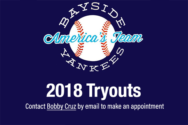 Tryouts available by appointment for the 2018 Senior Scout and Prospects teams.