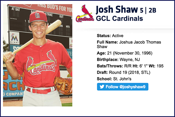 Josh Shaw, BY '14 & '15, promoted to Palm Beach Cardinals of the FL State League (Advanced A)