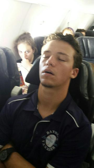 Josh Shaw on the plane to New Mexico, deep in thought.