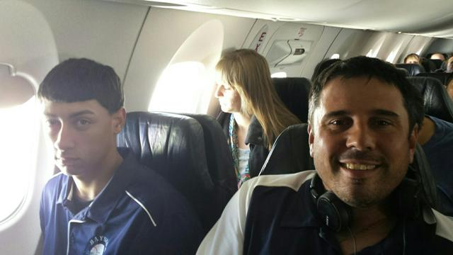 Blake Espinal (left) & Coach John Penatello (right) on the plane to New Mexico.