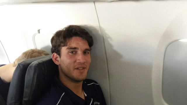 BY Scout Team catcher Sean Buckhout, on the plane to New Mexico